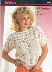 c7a543477b0e44 Robin 13676 ladies summer jumper top vintage knitting pattern