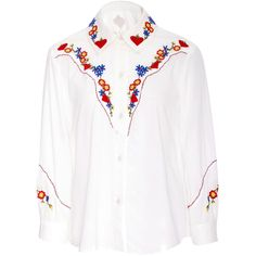Anna Sui     Western Floral Embroidery Shirt (5.526.140 IDR) ❤ liked on Polyvore featuring white and anna sui