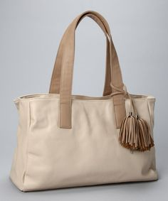 Take a look at this Beige Pom-Pom Satchel by Christian Livingston on #zulily today!