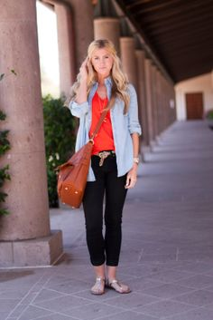 chambray over red shirt with black pants and leopard
