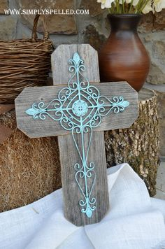 Distressed Teal Iron Cross layered with Rustic by SimplySpelled, $35.00