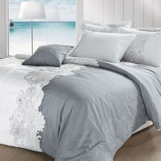 Maison Condelle Three-Piece Atlantic Duvet Cover Set In White And Gray - Beyond the Rack