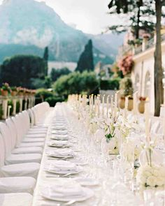 This Classic Wedding in Italy Began With An Unforgettable Entrance | Martha Stewart Weddings - The June weather in Taormina was spectacular, so the 60 guests dined outdoors on the terrace at the Belmond Grand Hotel Timeo.