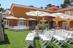 Intimate Wedding Ceremony Set up in our Fountain Garden, Cascais, Portugal. #weddingceremonyportugal #destinationweddinginportugal