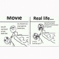 Caption this !!! There exists a difference between movies and real life #MovieAndRealLife