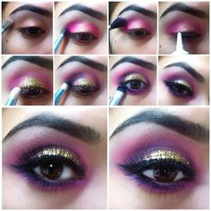 10 Stunning Eye Makeup for Your Next Party - Bilden Ideen Smokey Eyes, Purple Smokey Eye, Smokey Eye For Brown Eyes, Makeup For Brown Eyes, Smokey Eye Makeup, Photomontage, Belly Dance Makeup, Eyeliner, Glossy Eyes