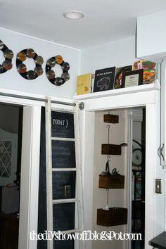 DIY Show Off ~ Sliding Ladder, Antique Chicken Feeder Cook Book Library, DIY kitchen updatesDIY Show Off ™ – DIY Decorating and Home Improvement Blog