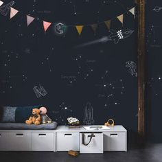 criativas quartos masculino 5 inspirerende tips voor kinderkamer behang - Karwei Outer Space Nursery, Temporary Wallpaper, Kid Spaces, Space Kids, Kids Room Design, Modern Kids, Kidsroom, Kids Decor, Boy Room
