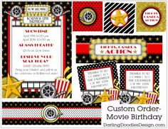 movie theater birthday party invitation by nattysuedesigns1 15 00