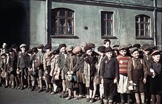 Children in the Lodz ghetto during World War II.