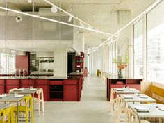 Remi restaurant in Berlin is defined by cherry-red joinery Restaurant Berlin, Restaurant Entrance, Restaurant Design, Mdf Cabinets, Communal Table, Glass Office, Grey Countertops, Kitchen Workshop, Hospitality Design