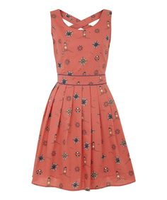 Take a look at the Navy Lighthouse & Compass Crisscross Fit & Flare Dress on #zulily today!