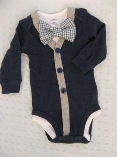 Baby Boy Cardigan Bowtie Onesie von groovyapplique
