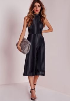 Missguided - High Neck Pinstripe Culotte Jumpsuit Navy