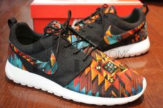 Nike Roshe Run Black Anthracite Tribal Aztec Edition by NYCustoms