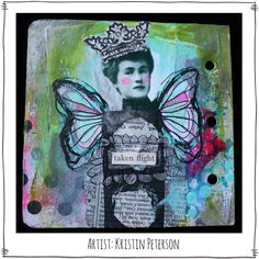 Art created by Kristin Peterson using Dream Thicket Rubber Stamps by Paperbag Studios.