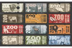 Zoo tickets for zoological park admit with wild animals. Vector vintage design of African lion, hippopotamus or panther and bear, elk or buffalo with wolf or fox and squirrel , Bear Design, Design Art, Graphic Design, Zoo Signage, Zoo Tickets, The Zoo, Zoo Project, Zoo Park, Ticket Design