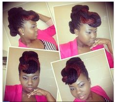 Updo using box braids. Can also be done on long twists . Natural hair. Cute