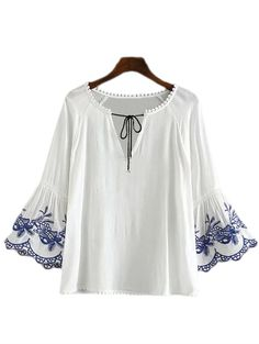 Blue Embroidery Bell Sleeve Lace Up Blouse