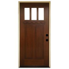 Steves & Sons 36 in. x 80 in. Shaker 3 Lite Stained Mahogany Wood Prehung Front Door, Brown