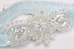 Blue Garter  wedding garter bridal garter prom garter by mirino, $23.00