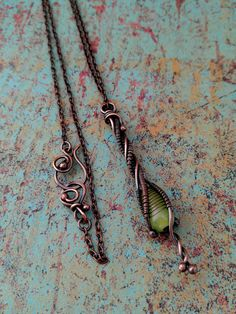 Spring Green Twig Pendant, Door 44 Original, Copper Wire Wrapped Pendant…