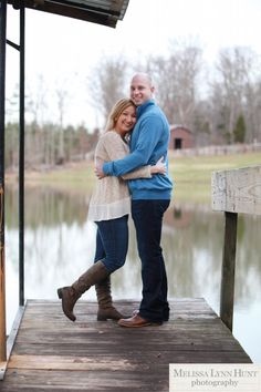 Engagement Photos on the dock by the lake by Melissa Lynn Hunt Photography