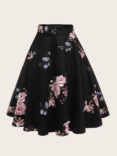 Retro Hepburn Vintage Women Skirt Floral Print Spring Summer Knee Length Skirt Cotton High Waist Swing Party Skirts Faldas Saia Color Black Size S Cute Skirts, Cute Dresses, Summer Dresses, Retro Skirts, Shift Dresses, Fall Dresses, Vintage Gowns, Vintage Skirt, Gown Skirt