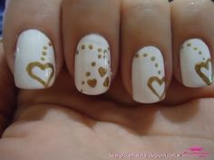 White and Gold Glamour Nail Art (Very pretty. Would be perfect for a bride)