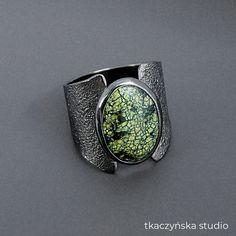 Irregular Statement Ring Contemporary Botanical Ring Autumn Moon Colorful Cubic Zirconia Ring Green Gemstone Black Cocktail Ring