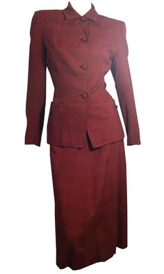 vintage Noir Girl Brick Red and Black Nipped Waist 1940s Suit by DorotheasCloset