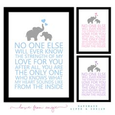 No one else will ever know my love for you / what my heart sounds like from the inside - Framed A4 Print - NEW BABY GIFT + Twins/Triplets by lovefromAngie on Etsy https://www.etsy.com/uk/listing/275797378/no-one-else-will-ever-know-my-love-for