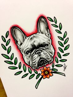 #frenchbulldog #bulldog #dog #animal #tattoo #drawing #sketch #ink #colored #dogtattoo #pet #oldschool #traditional