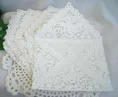 Items similar to Vintage Inspired Doily Paper Lace Envelopes, Handmade, White, Shabby Chic Wedding Liners, Size 100 Piece Set on Etsy Handmade Envelopes, Custom Envelopes, Paper Envelopes, Tea Party Invitations, Lace Wedding Invitations, Vintage Wedding Invitations, Paper Doilies, Paper Lace, White Paper