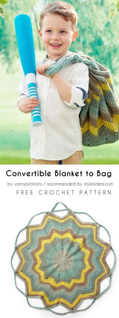 Convertible Blanket into Bag Free Crochet Pattern #crochetforchildren