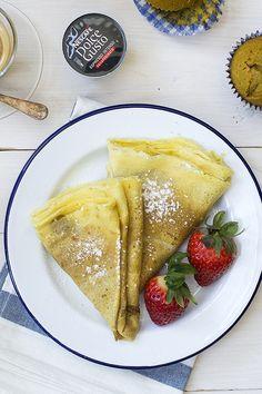 Crêpes de café con leche - Cocinando con CatMan Waffles, Pancakes, Ethnic Recipes, Food, Sour Cream, Dessert Recipes, Pastries, Rotisserie Chicken, Dolce Gusto