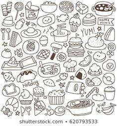 Find Set of Cute Food Doodle Stock Images in HD and millions of other royalty-free stock photos, illustrations, and vectors in the Shutterstock collection. Black And White Doodle, Black And White Cartoon, Black And White Drawing, Doodle Art Drawing, Food Drawing, Bff Drawings, Easy Drawings, Candy Drawing, Paint Font
