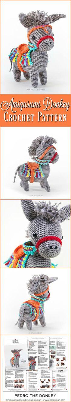 Pedro the Amigurumi Donkey | amigurumi crochet pattern, written instructions and step by step photos | seaside or piñata donkey #etsy #crochetpattern #ad #amigurumi #downloadable