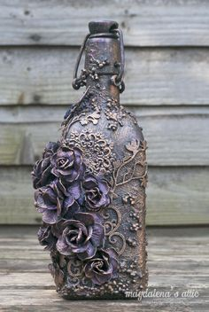 New horizons – mixed media altered bottle – magdalena's attic Wine Bottle Art, Glass Bottle Crafts, Diy Bottle, Art And Craft Videos, Diy Arts And Crafts, Art Crafts, Handmade Crafts, Paper Crafts, Bottles And Jars