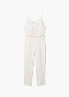 Blond-lace appliqué jumpsuit |