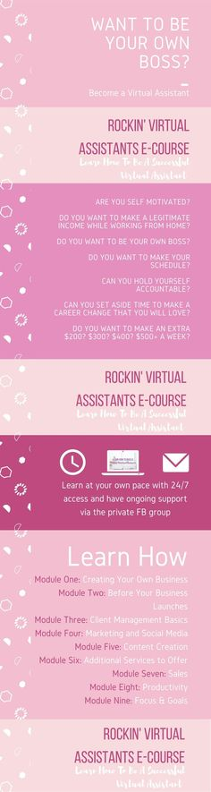 Fed up ? Want to be your own boss? Become a Virtual Assistant with the Rockin Virtual Assistant E-course.