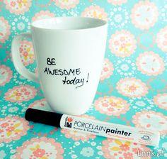 Pimp up your mug!    You just need a porcelain mug and a porcelain painter from Marabu. No baking!