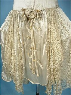 c. 1920's Wedding Dress of Silk Satin and Lace with Panniers!  Platinum Gray Color