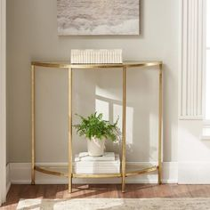 Home Decorators Collection Bella Aged Gold Demilune Glass Console Table - 9966900910 - The Home Depot Half Moon Console Table, Half Moon Table, Dining Room Console, Marble Console Table, Half Circle Table, Hallway Console Table, Narrow Console Table, Oval Table, Gold Table