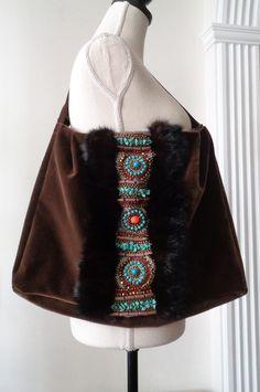 Shoulder Bags – Genuine Mink Fur Embroidered Boho Style Handbag – a unique product by FurAccess on DaWanda