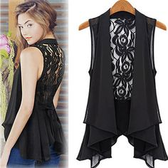 Irregular Black Lace Open Front Sleeveless Jacket Vest