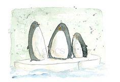 Pingvinek/Pingvins by Irisz Agocs Penguin Art, Snow Much Fun, Watercolor Bird, Painting & Drawing, Art For Kids, Coloring Books, Street Art, Art Pieces, My Arts