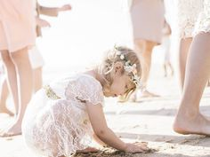 Which is making this glittering seaside wedding shot by Amy Jo Royall a new favorite. Blue Beach Wedding, Beach Wedding Flowers, Seaside Wedding, Dream Wedding, Wedding Things, Beach Flower Girls, Flower Girl Dresses, Fascinator Hairstyles, Wedding With Kids