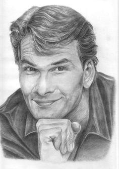 patrick swayze photos in art Celebrity Caricatures, Celebrity Drawings, Celebrity Portraits, Portrait Au Crayon, Pencil Portrait, Portrait Art, Patrick Swayze, Cool Pencil Drawings, Art Drawings