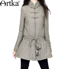 Artka Women's Elaborate Embroidery Stand Collar Handmade Frog Knot Drawstring Waist Skin-friendly Cotton Quilted Coat MA10637D $211.27